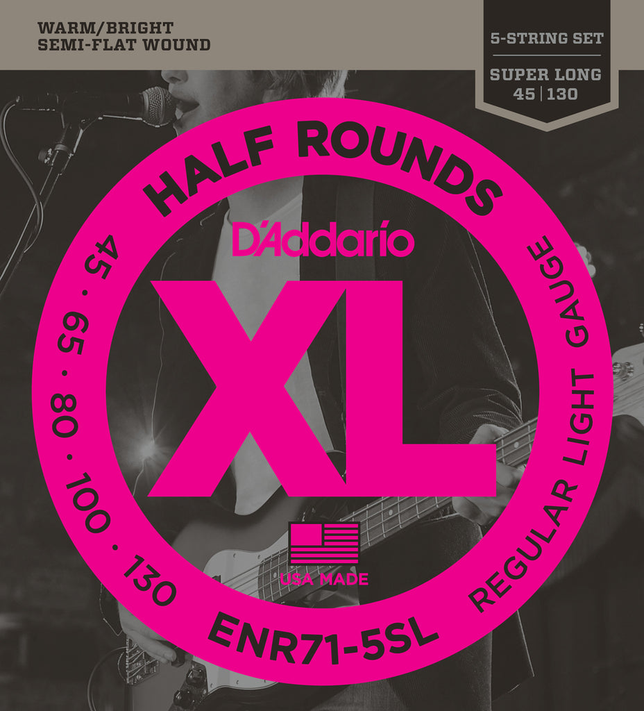 D'Addario ENR71-5SL Half Round Bass Guitar Strings, Regular Light, 45-130, Super Long Scale