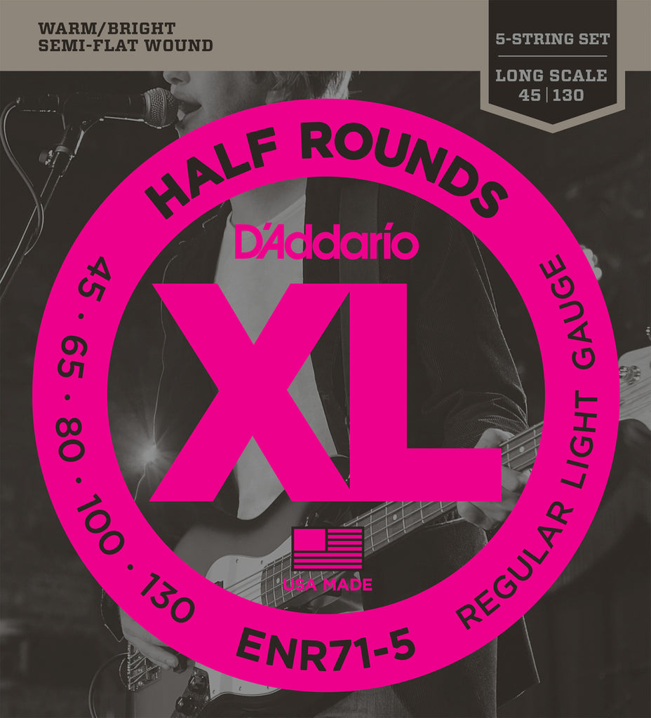 D'Addario ENR71-5 Half Round 5-String Bass Guitar Strings, Regular Light, 45-130, Long Scale