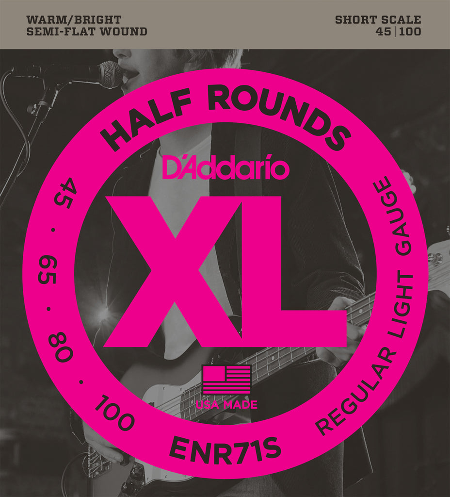 D'Addario ENR71S Half Round Bass Guitar Strings, Regular Light, 45-100, Short Scale