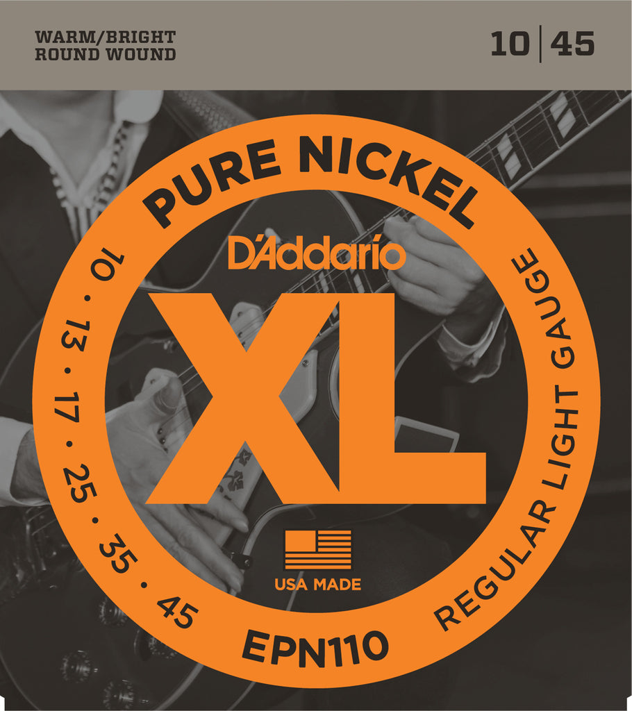 D'Addario EPN110 Pure Nickel Electric Guitar Strings, Regular Light, 10-45