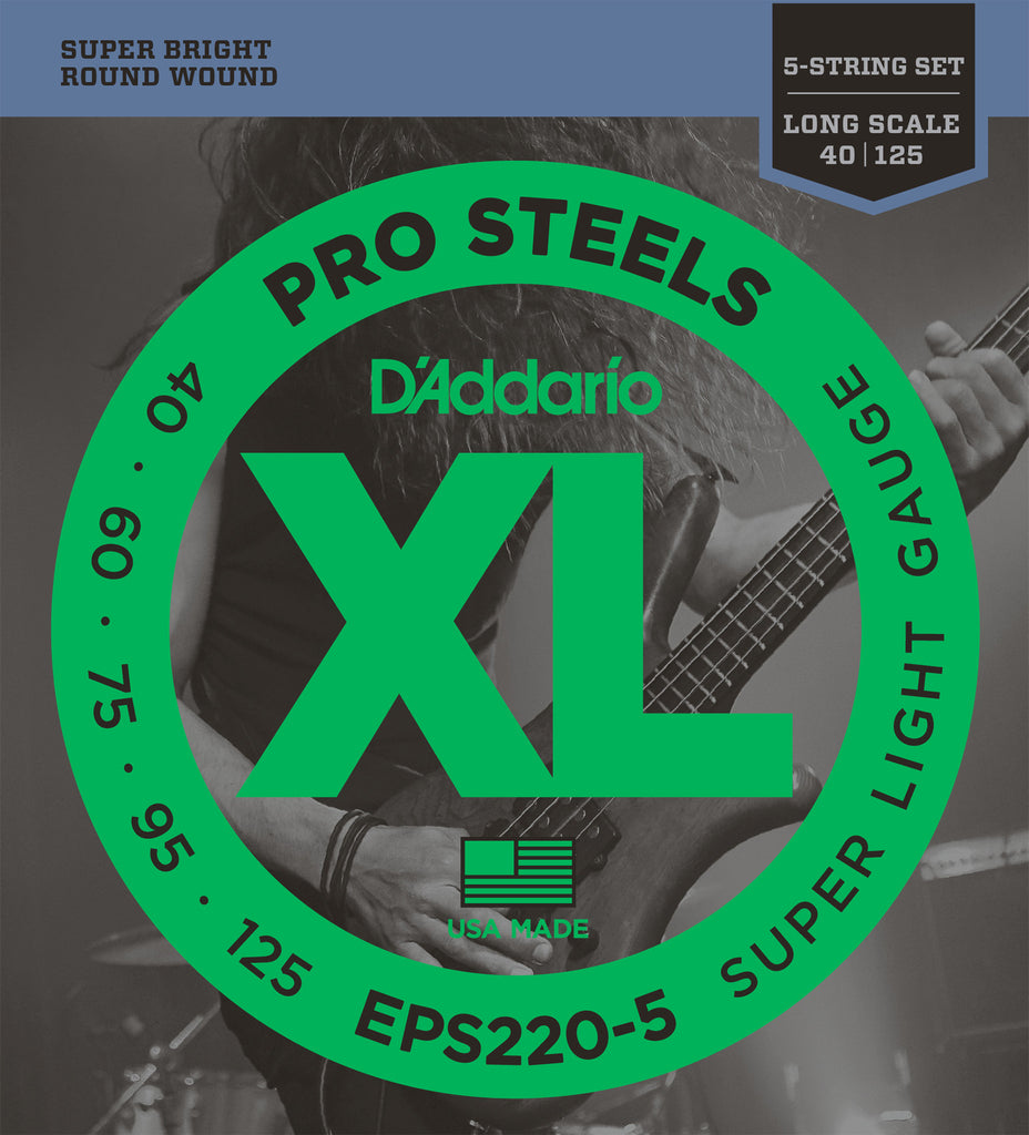D'Addario EPS220-5 5-String ProSteels Bass Guitar Strings, Super Light, 40-125, Long Scale