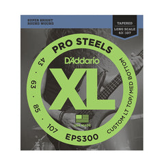D'Addario EPS300 ProSteels Bass Guitar Strings, Custom Light, 43-107, Long Scale