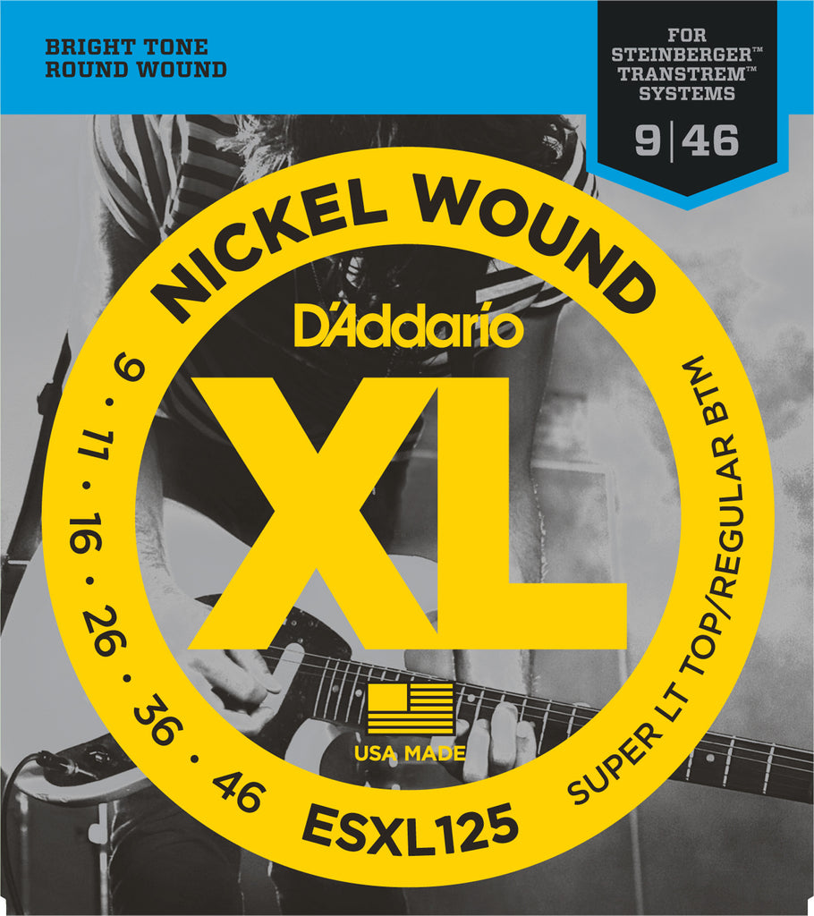 D'Addario ESXL125 Nickel Wound Electric Guitar Strings, Super Light Top/ Regular Bottom, Double Ball End, 9-46