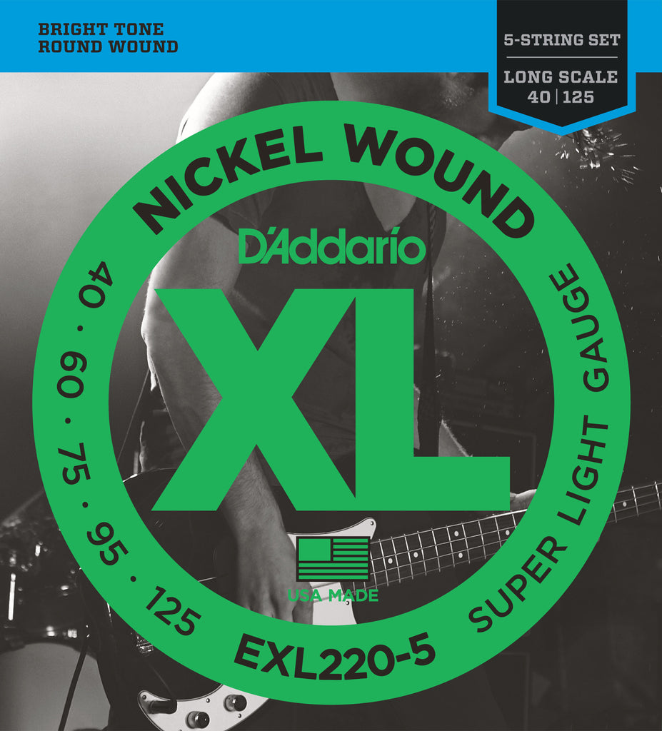 D'Addario EXL220-5 5-String Nickel Wound Bass Guitar Strings, Super Light, 40-125, Long Scale