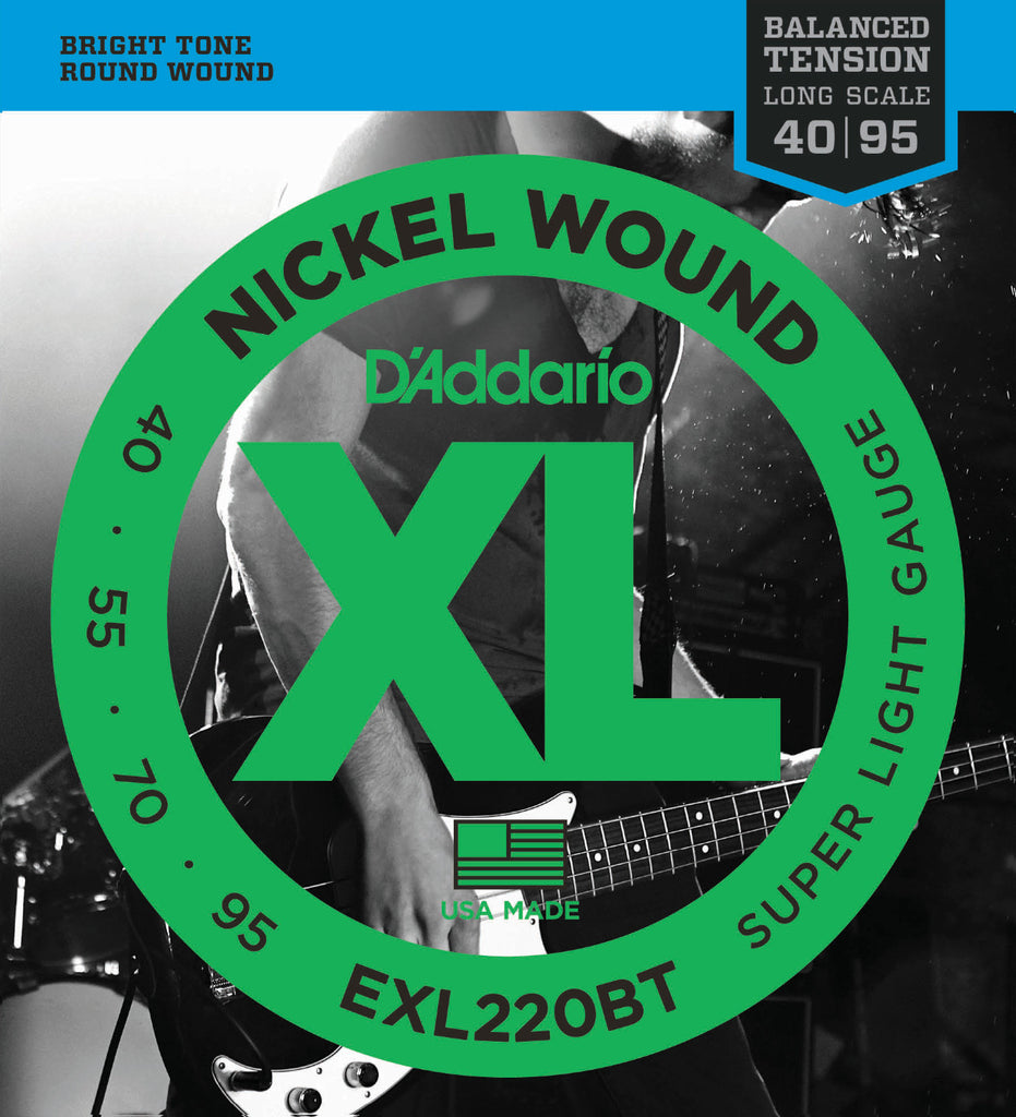 D'Addario EXL220BT Nickel Wound Bass Guitar Strings, Balanced Tension Super Light, 40-95