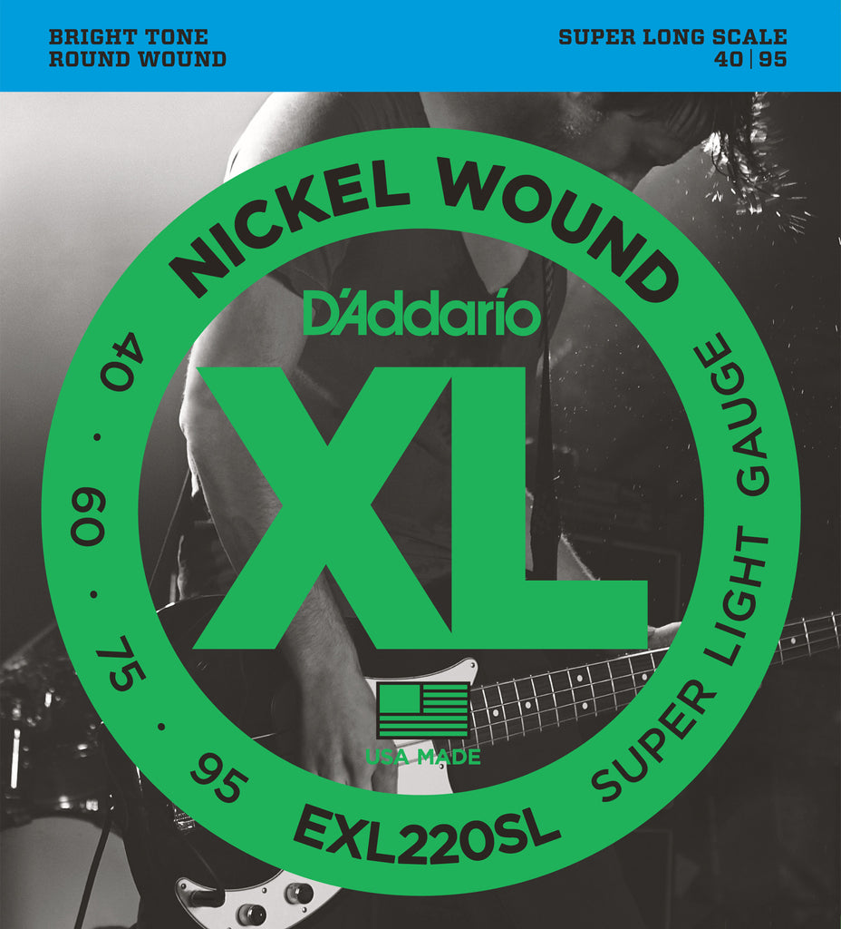 D'Addario EXL220SL Nickel Wound Bass Guitar Strings, Super Light, 40-95, Super Long  Scale