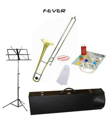Fever Student Slide Gold Lacquer B Flat Trombone School Package with Case, Music Stand and Cleaning Kit