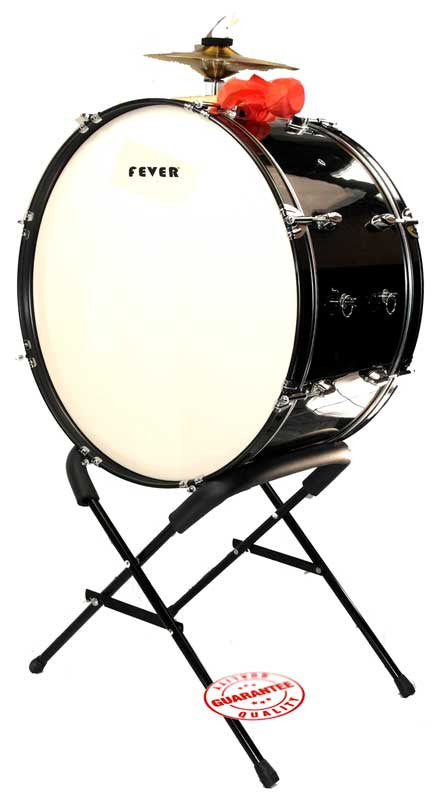 Fever 24x12 Drum Bass Tambora with Stand Black