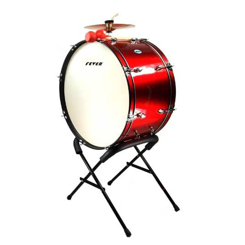 Fever 24x12 Drum Bass Tambora with Stand Red