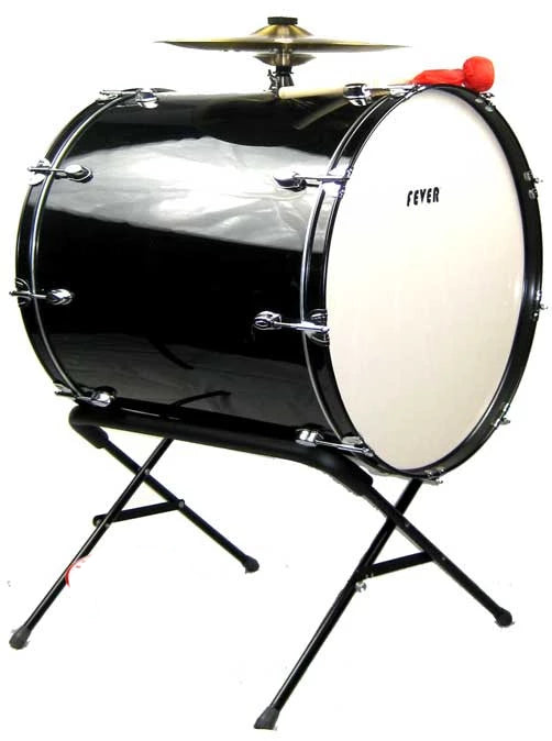 Fever 24x24 Drum Bass Tambora with Stand Black