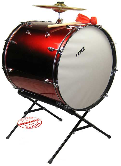 Fever 24x24 Drum Bass Tambora with Stand Red