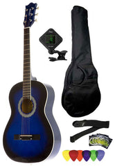 Fever 3/4 Size Acoustic Guitar Package Blueburst with Gig Bag, Guitar Tuner, Picks and Strap, FV-030-DBL-PACK