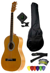 Fever 3/4 Size Acoustic Guitar Package Brown with Gig Bag, Guitar Tuner, Picks and Strap, FV-030-BW-PACK