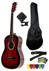 Fever 3/4 Size Acoustic Guitar Package Redburst with Gig Bag, Guitar Tuner, Picks and Strap, FV-030-DRD-PACK