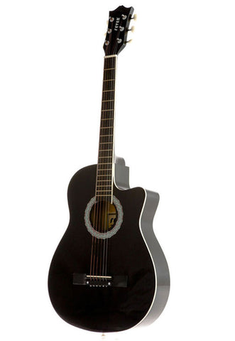 Fever 3/4 Acoustic Cutaway 38 Inches Guitar Black, FV-030C-BK