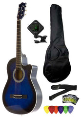Fever 3/4 Size Acoustic Cutaway Guitar Package Blueburst with Gig Bag, Guitar Tuner, Picks and Strap, FV-030C-DBL-PACK