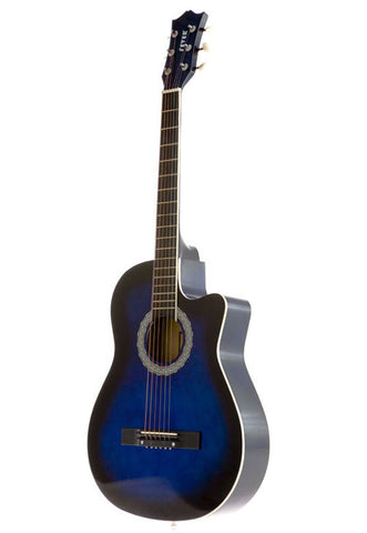 Fever 3/4 Acoustic Cutaway 38 Inches Guitar Blueburst, FV-030C-DBL