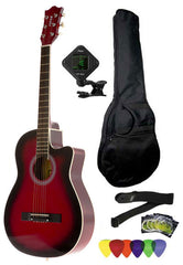 Fever 3/4 Size Acoustic Cutaway Guitar Package Redburst with Gig Bag, Guitar Tuner, Picks and Strap, FV-030C-DRD-PACK