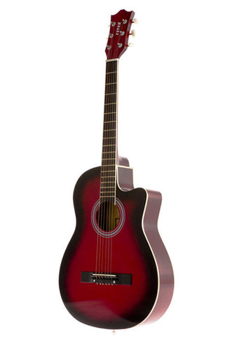 Fever 3/4 Acoustic Cutaway 38 Inches Guitar Redburst, FV-030C-DRD