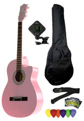 Fever 3/4 Size Acoustic Cutaway Guitar Package Pink with Gig Bag, Guitar Tuner, Picks and Strap, FV-030C-PK-PACK
