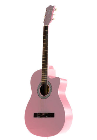 Fever 3/4 Acoustic Cutaway 38 Inches Guitar Pink, FV-030C-PK