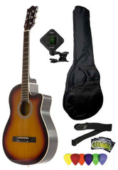 Fever 3/4 Size Acoustic Cutaway Guitar Package Sunburst with Gig Bag, Guitar Tuner, Picks and Strap, FV-030C-SB-PACK