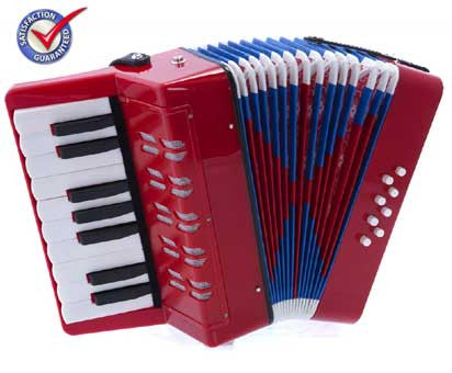 D'Luca Kids Piano Accordion 17 Keys 8 Bass Red