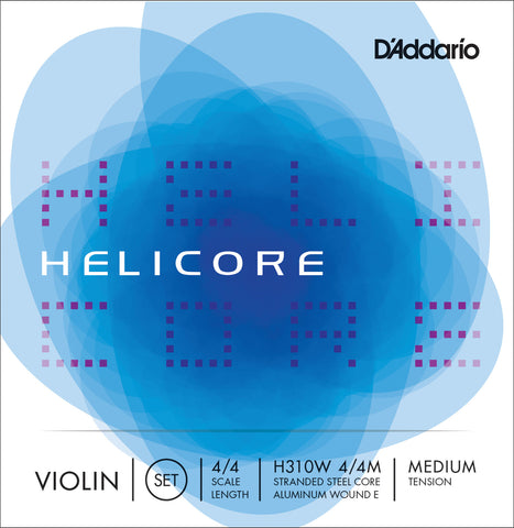 D'Addario Helicore Violin String Set with Wound E, 4/4 Scale, Medium Tension