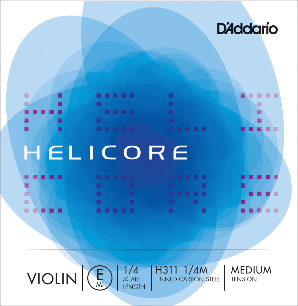 D'Addario Helicore Violin Single E String, 1/4 Scale, Medium Tension