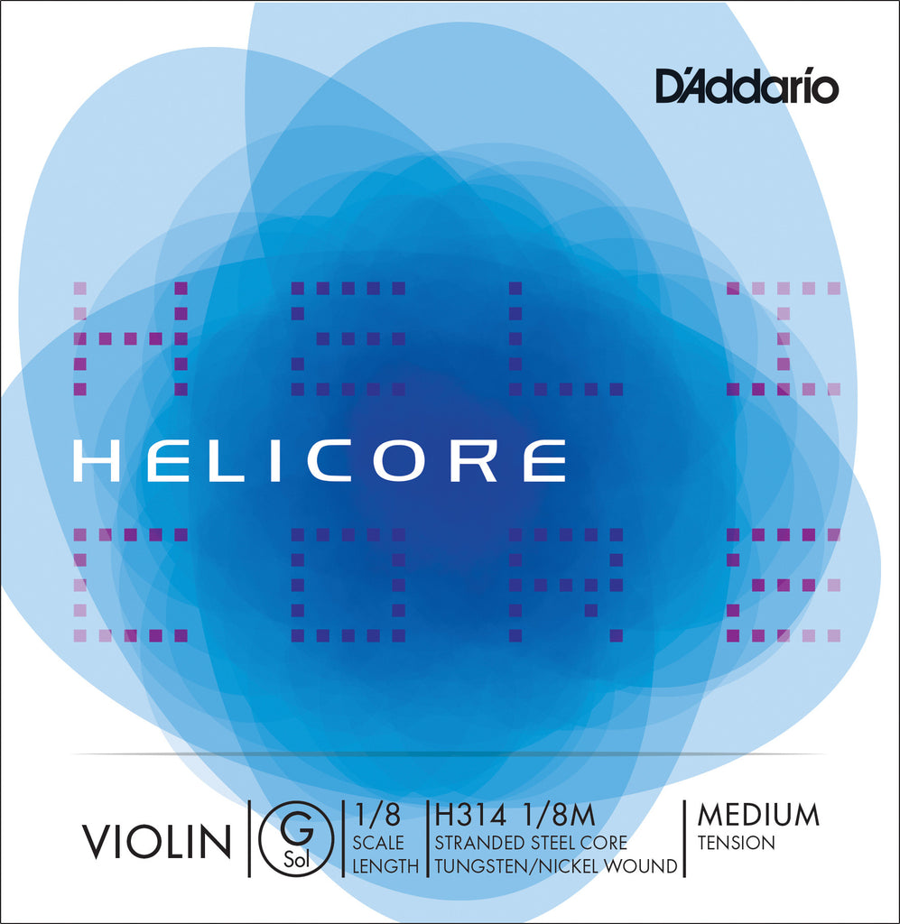 D'Addario Helicore Violin Single G String, 1/8 Scale, Medium Tension