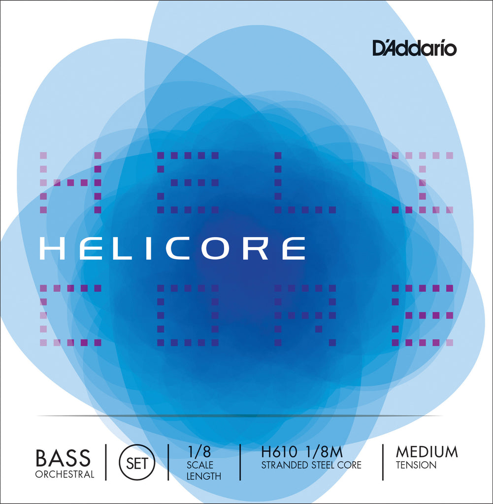 D'Addario Helicore Orchestral Bass String Set, 1/8 Scale, Medium Tension