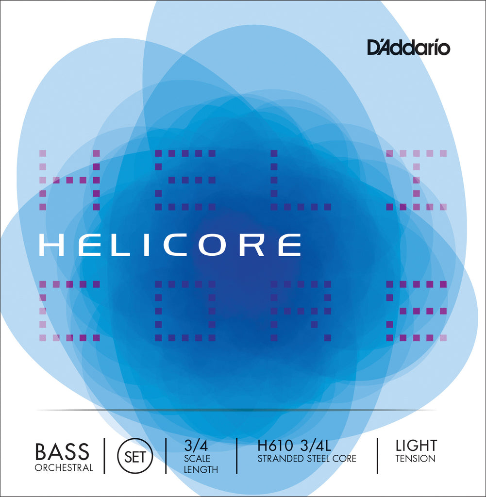 D'Addario Helicore Orchestral Bass String Set, 3/4 Scale, Light Tension