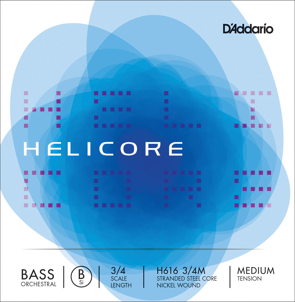 D'Addario Helicore Orchestral Bass Single Low B String, 3/4 Scale, Medium Tension