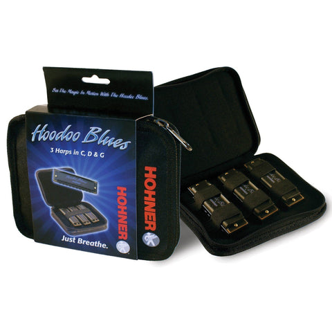 Hohner Hoodoo Blues Harmonica 3 Pack, Keys of G, C, D