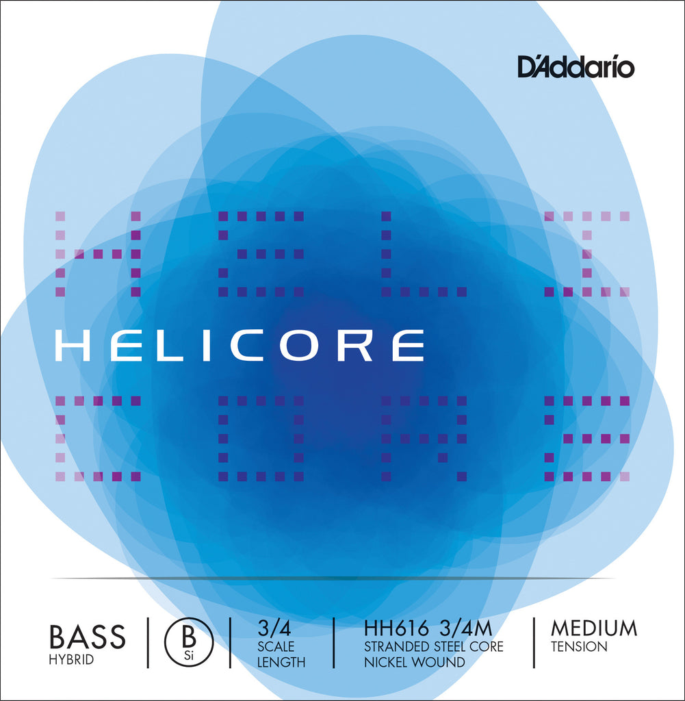 D'Addario Helicore Hybrid Bass Single Low B String, 3/4 Scale, Medium Tension