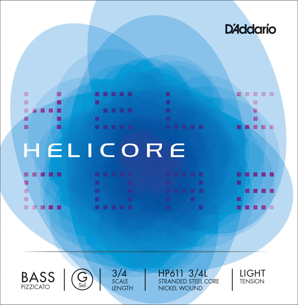 D'Addario Helicore Pizzicato Bass Single G String, 3/4 Scale, Light Tension
