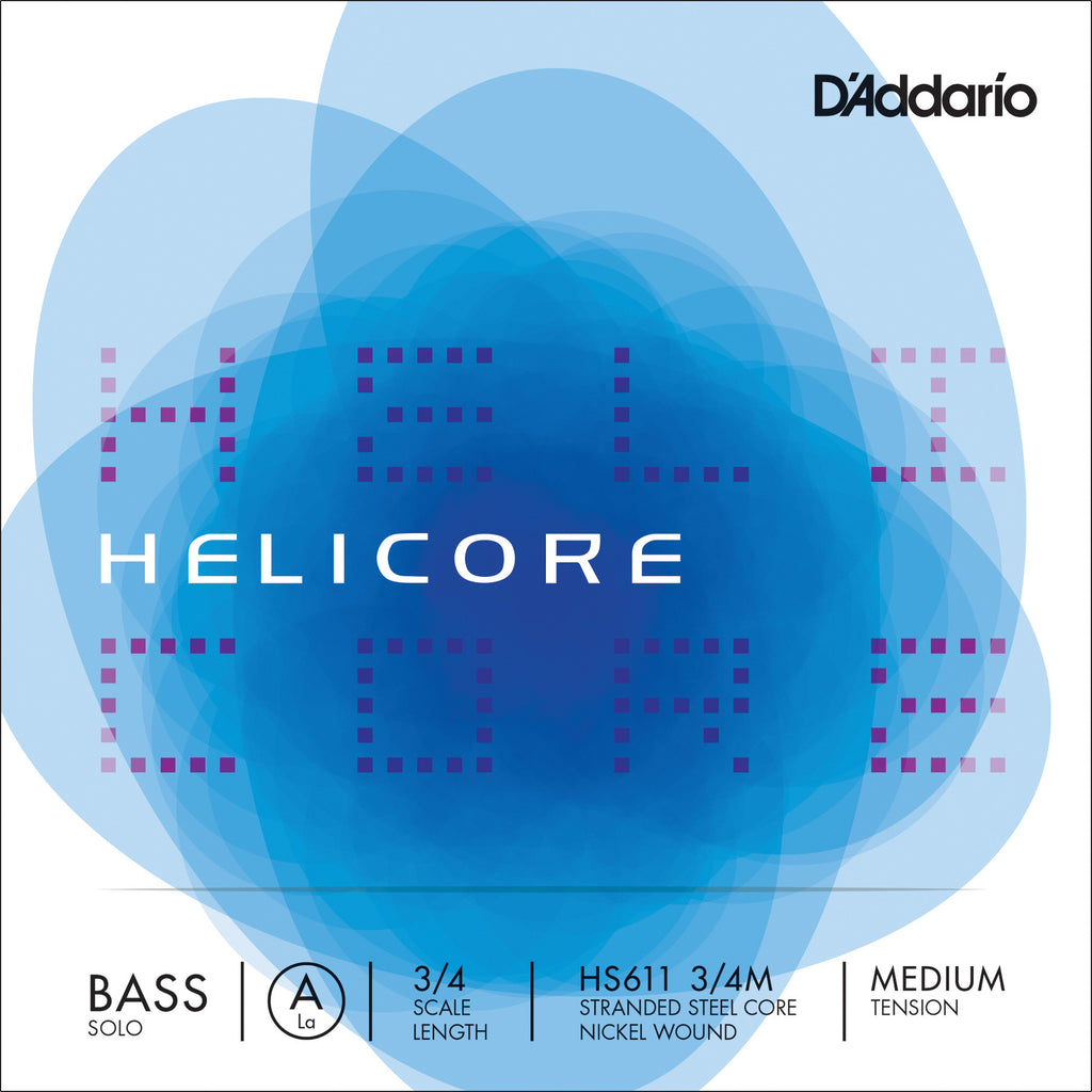 D'Addario Helicore Solo Bass Single A String, 3/4 Scale, Medium Tension