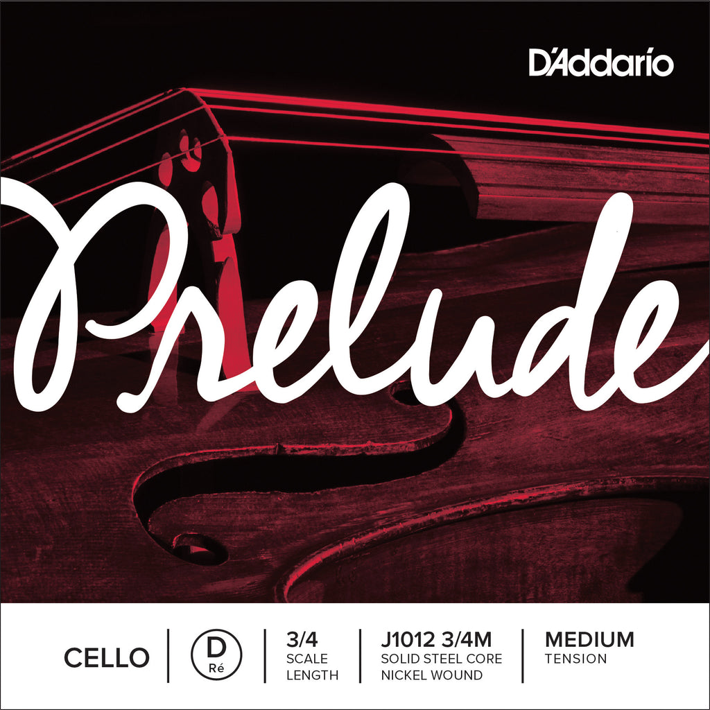 D'Addario Prelude Cello Single D String, 3/4 Scale, Medium Tension