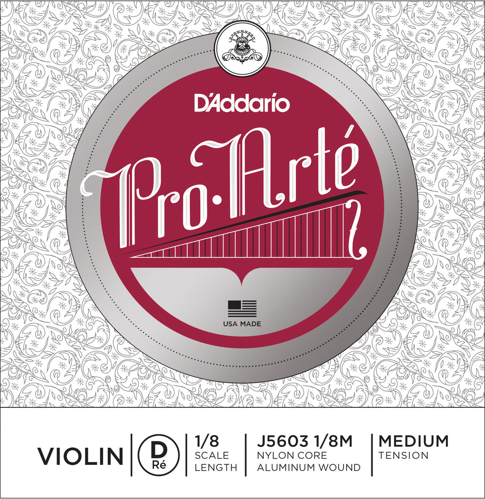 D'Addario Pro-Arte Violin Single D String, 1/8 Scale, Medium Tension