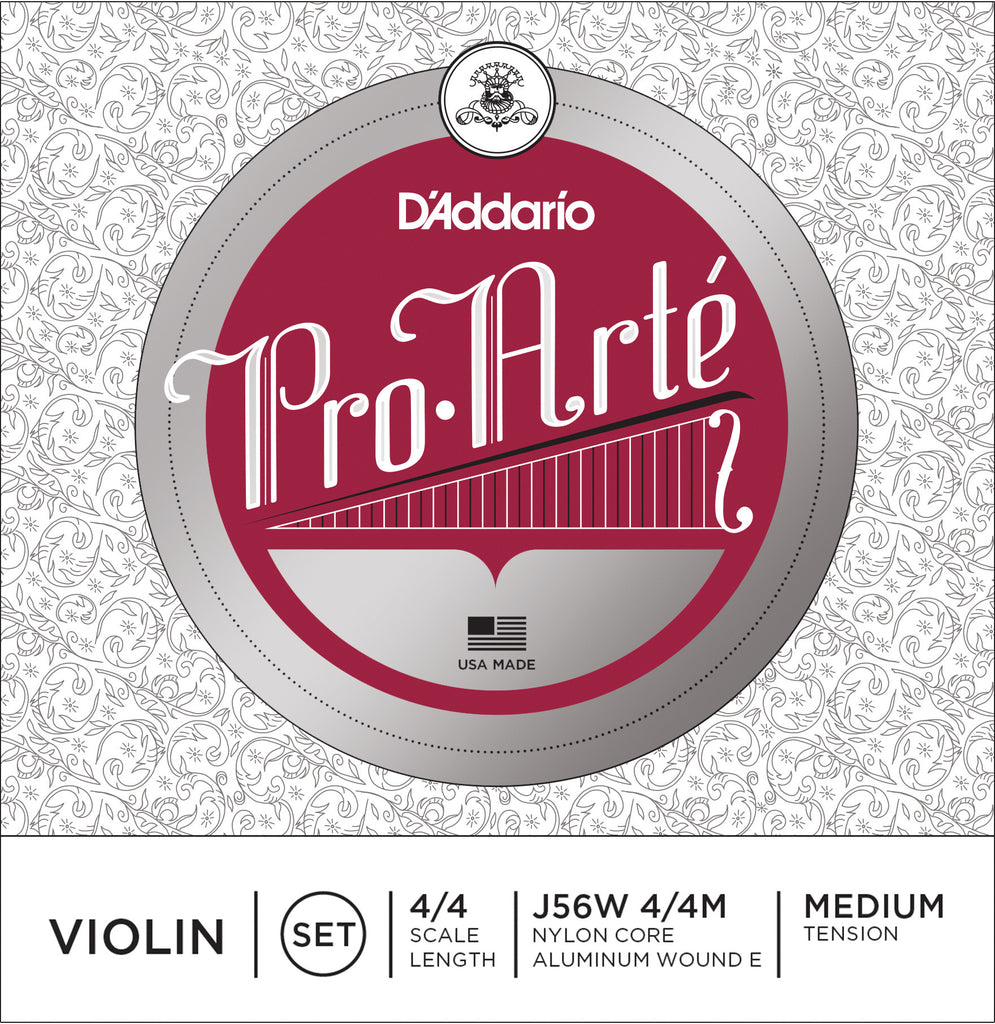 D'Addario Pro-Arte Violin String Set with Wound E, 4/4 Scale, Medium Tension