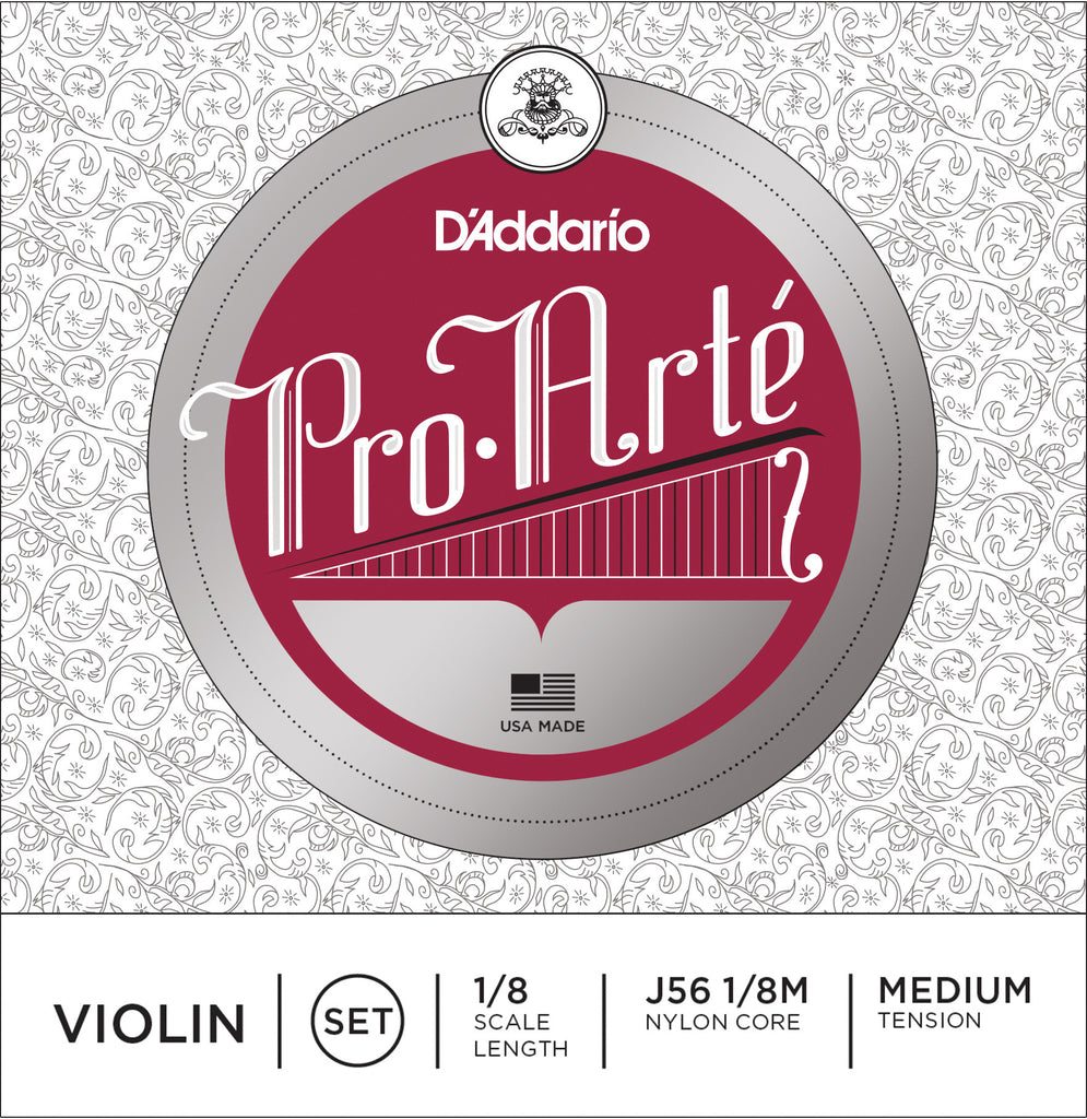 D'Addario Pro-Arte Violin String Set, 1/8 Scale, Medium Tension