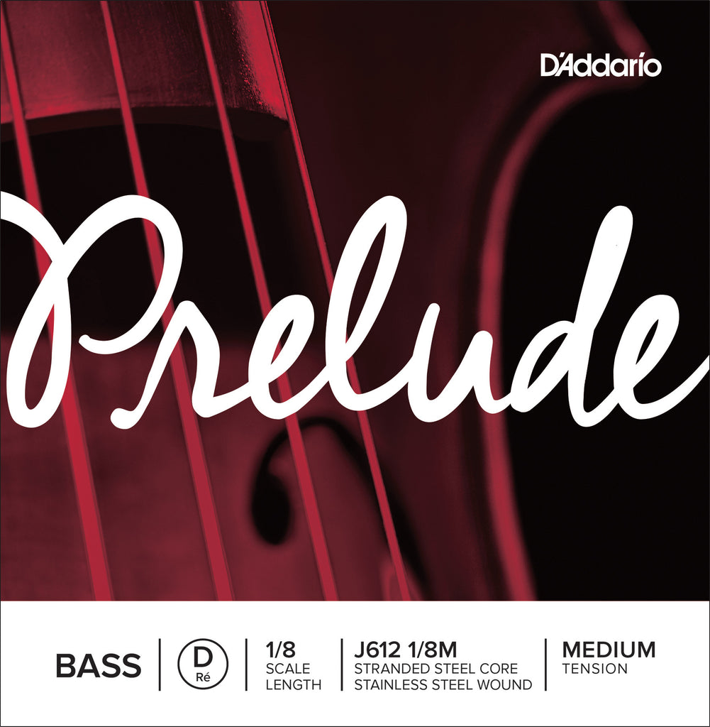 D'Addario Prelude Bass Single D String, 1/8 Scale, Medium Tension