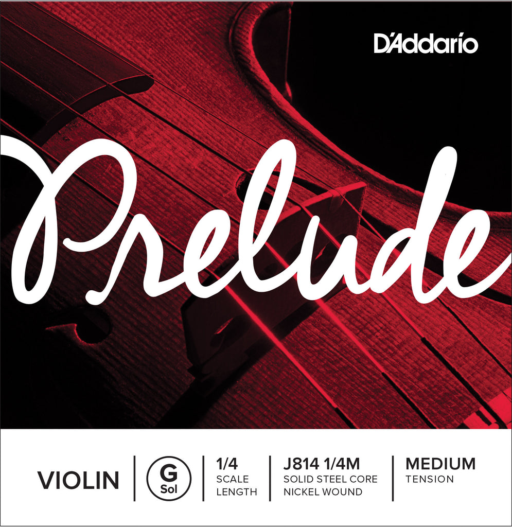 D'Addario Prelude Violin Single G String, 1/4 Scale, Medium Tension