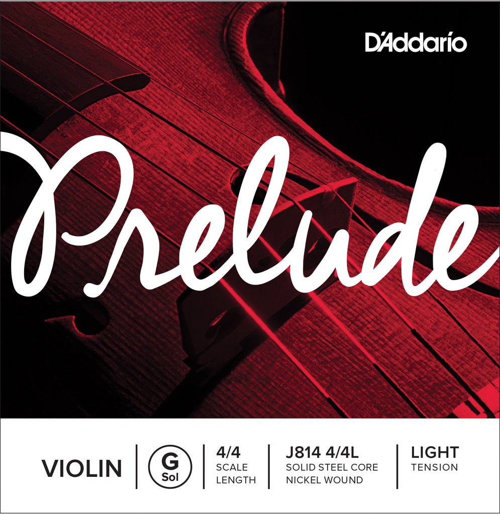 D'Addario Prelude Violin Single G String, 4/4 Scale, Light Tension