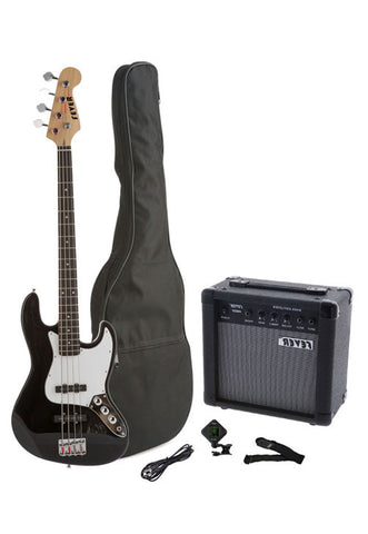 Fever 4-String Electric Jazz Bass Style with 20-Watts Amplifier, Gig Bag, Clip on Tuner, Cable and Strap, Color Black