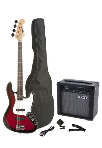 Fever 4-String Electric Jazz Bass Style with 20-Watts Amplifier, Gig Bag, Clip on Tuner, Cable and Strap, Color Red