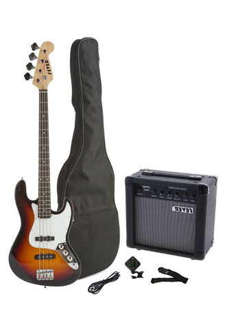 Fever 4-String Electric Jazz Bass Style with 20-Watts Amplifier, Gig Bag, Clip on Tuner, Cable and Strap, Color Sunburst