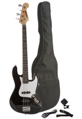 Fever 4-String Electric Jazz Bass Style with Gig Bag, Clip on Tuner, Cable and Strap, Color Black