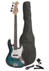 Fever 4-String Electric Jazz Bass Style with Gig Bag, Clip on Tuner, Cable and Strap, Color Blue