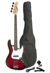 Fever 4-String Electric Jazz Bass Style with Gig Bag, Clip on Tuner, Cable and Strap, Color Red